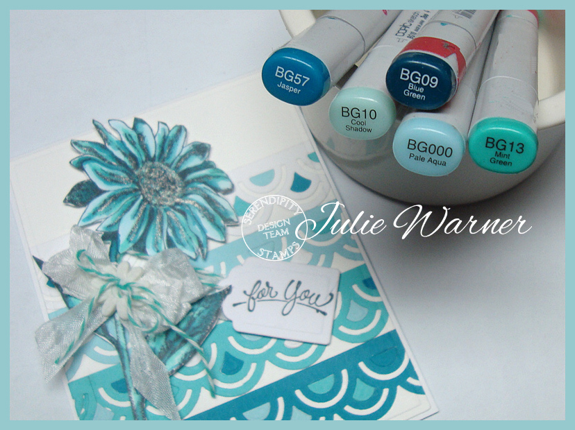 Cool Teal Daisy copics 04103
