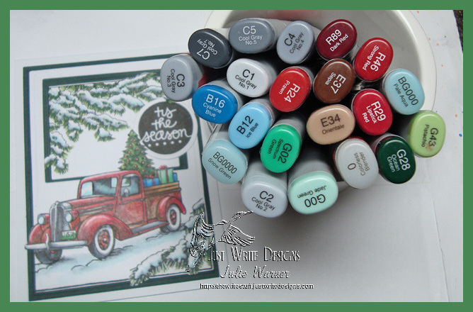 Red Christmas truck copics 08059