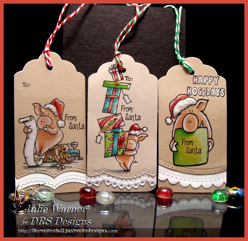 Christmas Pig Tags 07317