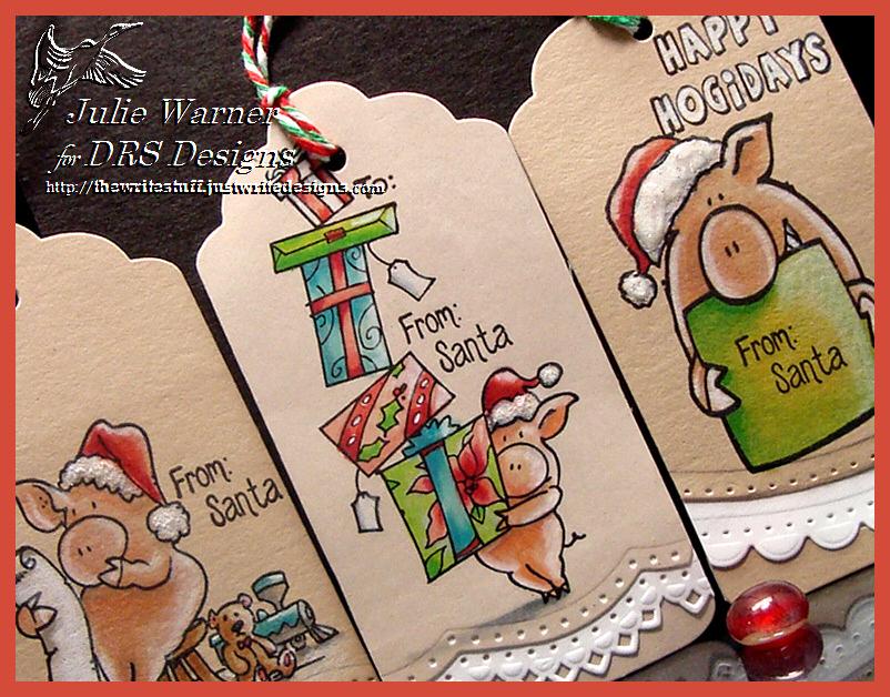 Christmas Pig Tags cu 07317