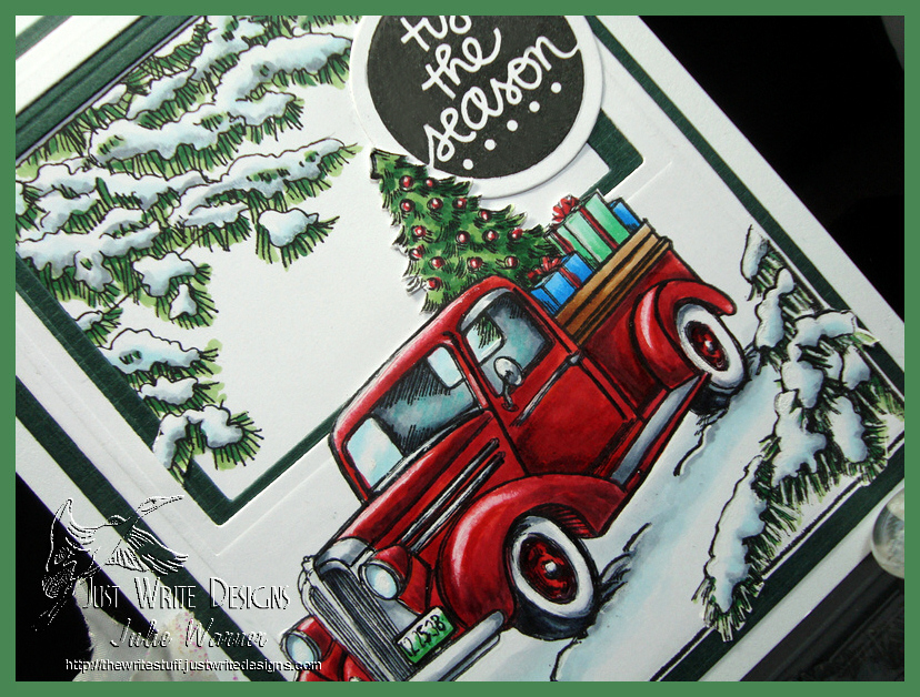 Red Christmas truck cu 08068